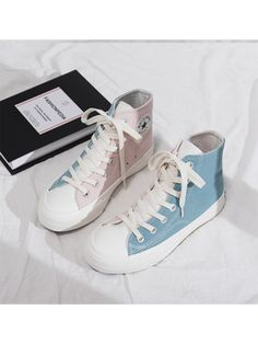 Color Block High Top Canvas Shoes - Women's style: Patterns of sustainability Dr Shoes, Swag Shoes, Hype Shoes, Me Too Shoes, Shoes Sneakers, Converse Shoes Outfit, All Star Shoes, Golf Shoes, High Top Sneakers