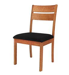 Our handmade, solid cherry wood Holland Dining Chairs have a casual, elegant style that fits with any decor. These restaurant style chairs are hand-made in Vermont of solid hardwoods. Customize online with your choice of seat fabric. Bring an air of casual sophistication to your modern dining room. Made to order in Vermont, of natural, organic solid wood, they are extremely comfortable and durable too!