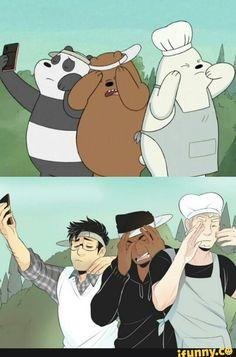 Quick little fanart of We Bare Bears! Cartoon As Anime, Cartoon Shows, Cartoon Art, We Bare Bears Wallpapers, Movie Wallpapers, Cartoon Characters As Humans, Anime Characters, We Bare Bears Human, Character Art