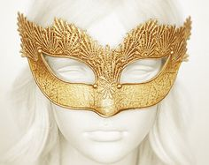 Nude & Gold Glitter Masquerade Mask Shimmering by SOFFITTA