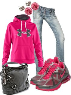 """""""Comfy Pink"""" - i wear this kind of thing all the time! feeling better about scrubbin it now that its on pinterest!!! lol!!!!!"""
