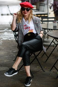 Faux Leather, Plaid Blazer & Fries.  Casual style, faux leather, sneaker chic, Seasonal style, OOTD, fashion blogger, women's fashion, street style, outfit inspiration, outfit ideas, outfits, what to wear now, trends, OOTD Inspo, Best Street Style,