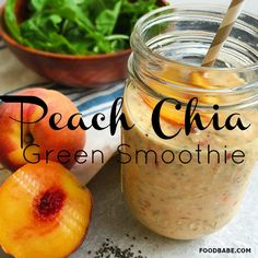 Peach Chia Green Smoothie - Perfect For Breakfast On-The-Go! Keep it dairy free with non-dairy milk! If your enjoying our pins why not come and visit our site where you'll find much more smoothie info. Juice Smoothie, Smoothie Drinks, Fruit Smoothies, Healthy Smoothies, Healthy Drinks, Smoothie Recipes, Healthy Eating, Orange Smoothie, Superfood Recipes