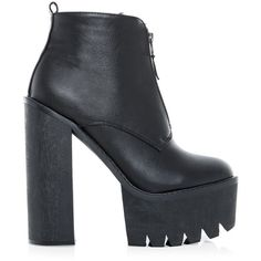Black Chunky Cleated Sole Platform Shoe Boots