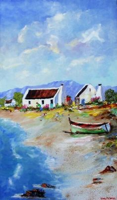Art Painting by Louis Pretorius includes Fisherman's Cottages with Green Boat, this example of Seascapes has inspired this exceptionally talented artist. View other Paintings by Louis Pretorius in our Online Art Gallery. Abstract Ocean Painting, Seascape Paintings, Abstract Wall Art, Love Painting, Oil Painting On Canvas, Landscape Art, Landscape Paintings, Landscapes, Ocean Canvas