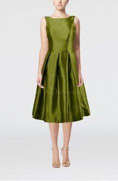 Olive taffeta cocktail dress with boat neck and inverted pleats!