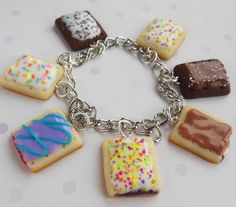 Polymer clay pop tart charm bracelet by ScrumptiousDoodle on Etsy, $30.00