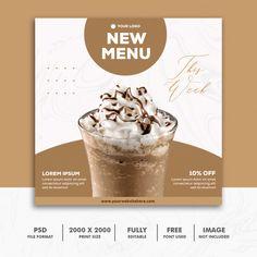 Square banner food restaurant milkshake ... | Premium Psd #Freepik #psd #banner #food #design #template Food Graphic Design, Food Poster Design, Web Design, Food Design, Social Media Poster, Social Media Banner, Social Media Design, Instagram Feed Layout, Instagram Design