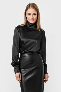 Black satin long-sleeved high-neck blouse. A Perfect choice of first date outfit!