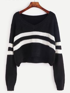To find out about the Black Striped Chevron Knit Crop Sweater at SHEIN, part of our latest Sweaters ready to shop online today! Cropped Knit Sweater, Crop Top Sweater, Sweater Shirt, Long Sleeve Sweater, Loose Sweater, Pullover Sweaters, Hoodie, Outfits For Teens, Cool Outfits