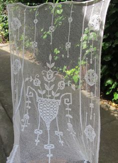 Filet Crochet Door Curtain French Lace Panel by HatchedinFrance, $89.00