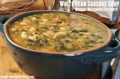 This easy, healthy & delicious white bean sausage soup with escarole is a family favorite! A hearty low calorie soup for Weight Watchers with 4 SmartPoints. Escarole Recipes, Escarole Soup, Kale Soup Recipes, Healthy Recipes, Healthy Soups, Ww Recipes, Healthy Eating, Clean Eating, Healthy Protein