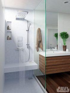 Skandinavské koupelny inspirace - Koupelna se sprchovým koutem | Favi.cz