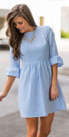 Tie together cute and casual with this striped dress! Shop quickly while supplies last! - Polyester - Comfortable inside fibers - Handwash only Cute Casual Dresses, Simple Dresses, Elegant Dresses, Sexy Dresses, Vintage Dresses, Fashion Dresses, Dresses For Work, Formal Dresses, Wedding Dresses