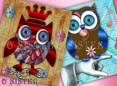Cute 3D Textured Owl Four Digital Image Sheets 4X4 inch by Osister, $3.50