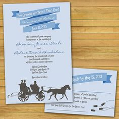 "Carriage Same-Sex Wedding Invitations: ""Two Brides Are Better Than One"" by InviGAYtions"