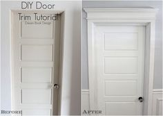 DIY Door Trim Tutorial. A step by step tutorial to create beautiful trim for plain doors! Dream Book Design
