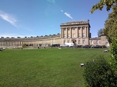 The Royal Crescent is a residential road of 30 houses laid out in a crescent in the city of Bath, England. Designed by the architect John Wood the Younger and built between 1767 and 1774, it is among the greatest examples of Georgian architecture to be found in the United Kingdom and is a grade I listed building.[1]  The houses have been home to various notable people for over 200 years. Amazing place! Bath Somerset, Bath Uk, Georgian Architecture, Stone Facade, John Wood, Listed Building, England And Scotland, Beach Signs, Home And Away