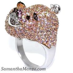 Pink Fuschia Micro Pave Cz Diamond PIG Cocktail Right Hand Ring