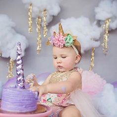 Cake smash babe wearing our Luxe Garden Sparkle Romper and unicorn crown by @shopsplendere ✨✨✨
