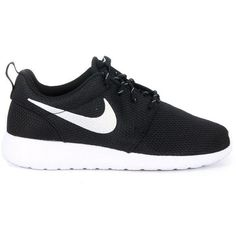 Nike Sneakers ($87) ❤ liked on Polyvore featuring shoes, sneakers, black, nero, kohl shoes, nike footwear, black sneakers, nike sneakers and black trainers