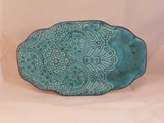 Lace Patterned Turquoise Ceramic Platter by FrankelArtworks  Only 3/4th of platter with texture