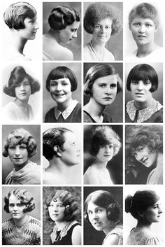 thevintagethimble: 1920's HairstylesA collection of 1920's photographs, depicting some of the hairstyles of the time, like the kiss curl, t...