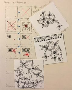 I did not set out to create a new tangle, but I found that as I continued to draw, it created itself. I reminds me of holly, thus the name. ...
