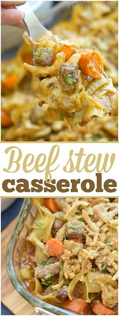 This easy beef stew casserole is comfort food at it's finest!! Packed with tender meat lots of vegetables and a thick sauce you're sure to have seconds! via @thetypicalmom (Cabbage Recipes With Sausage)