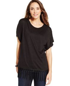 Style&co. Short-Sleeve Poncho Top