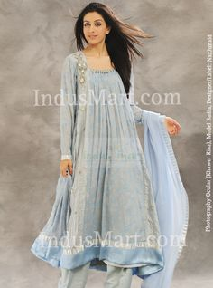 Pishwa: Panelled Dress in silvery green chiffon and crepe silk.    http://www.indusmart.com/shop/nj-skyblue-and-gray-shalwar+kameez-c-325-p-1-pr-19407.html