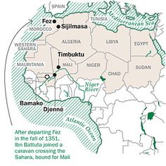 Berber population decided to convert to Islam. They founded the regional states of Fez and Sijilimasa. Also shown on the map are Timbuktu Jenne which were Mali trading centers