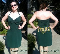 Refashion t shirt to summer dress wonder if i could do it for Charlie and Kara???
