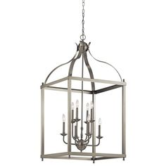 This Kichler 8 light large foyer pendant cage from the Larkin collection creates a strong, linear silhouette. The Brushed Nickel finish and steel form of This Kichler design will effortlessly accent your home.