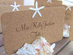 Customize Any Color, 10 Starfish Wedding Place Cards, Escort Cards, Beach Wedding, Bridal Shower, Nautical, Names Printed