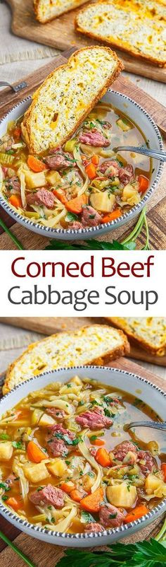 A simple and tasty corned beef and cabbage soup! - A simple and tasty corned beef and cabbage soup! Corn Beef And Cabbage Soup, Cabbage Soup Recipes, Chili Recipes, Slow Cooker Recipes, Crockpot Recipes, Cooking Recipes, Healthy Recipes, Vegetarian Recipes, Noodle Recipes