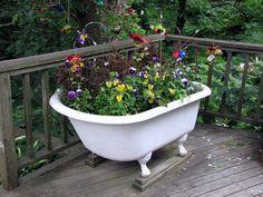 bathtub planter >> great for backyard Garden Bathtub, Old Bathtub, Outdoor Bathtub, Clawfoot Bathtub, Garden Planters, Herb Garden, Old Bed Frames, Claw Foot Bath, Pot Jardin