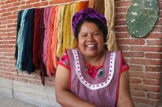 my friend, Maria Luisa with her natural colored yarns in Teotitlan del Valle