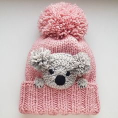 Koala hat knit hat winter hat pom pom hat kids outfit girls accessories women hat knit beanie winter fashion cute hat animal hat non boring casual outfits ideas for teen casualoutfits casualoutfitsideas teencasualoutfits trendy fashion ideas Knitted Hats Kids, Crochet Baby Hats, Crochet Beanie, Crochet For Kids, Baby Knitting, Knit Headband, Crochet Poncho, Beanie Diy, Crochet Pattern