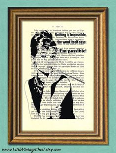 NOTHING IS IMPOSSIBLE  Audrey Hepburn Quote  by littlevintagechest French Dictionary, Dictionary Art, Audrey Hepburn Quotes, Antique Prints, Antique Books, All Print, The Book, Wall Art Prints, My Books