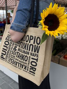 KUOPIO -juuttikassi (20€) Ateljee Keltainen Talo Finland, Reusable Tote Bags