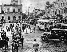 Warsaw intersection of Marszałkowska Street and Jeruzalem Allee Beautiful Buildings, Warsaw, Old Photos, Poland, Street View, Black And White, City, Mj, Lost
