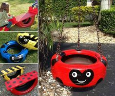 Tire swing and teeter totter grandkids, 2019 painted tires, Tire Garden, Garden Toys, Tire Craft, Painted Tires, Kids Yard, Tire Swings, Tyres Recycle, Reuse, Used Tires