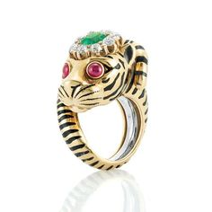 Gold, Enamel, Emerald, Ruby and Diamond Tiger Ring, David Webb .