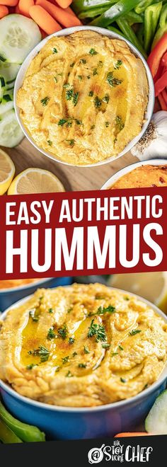 Authentic hummus is easy to make at home with this simple and delicious recipe. Weve also included two popular flavor options for Garlic Hummus and Roasted Red Bell Pepper Hummus. Vegetarian Recipes, Cooking Recipes, Healthy Recipes, Dip Recipes, Diabetic Recipes, Potato Recipes, Vegetable Recipes, Clean Eating Snacks, Healthy Eating