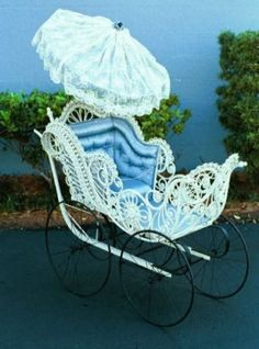 Baby Carriage circa 1900's/ made of wicker.