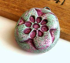 Handmade Polymer Clay Bead/Charm  Floral by BeadsByEarthTones, $3.50