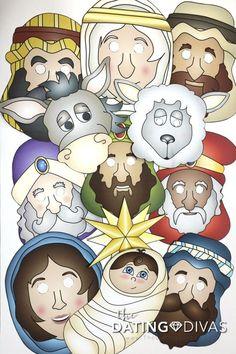 Free Printable Christmas Nativity Masks More 237564949073872652 Preschool Christmas, Christmas Nativity, Christmas Activities, A Christmas Story, Family Christmas, Simple Christmas, Christmas Crafts, Nativity Costumes, Christmas Photo Booth