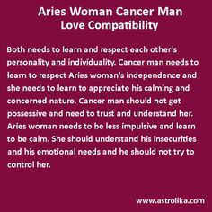 Aries woman and Cancer man love compatibility attraction match, romance & horoscope. Astrology analysis for love relationship, friendship, marriage, soulmates and partners. Aries Man Sagittarius Woman, Scorpio Men, Sagittarius Facts, Horoscope Cancer Compatibility, Astrology Zodiac, Libra Horoscope, Compatible Zodiac Signs, Cancer Man, A Team