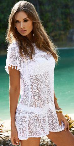 PilyQ 2014 Water Lily Pom Pom White Dress #PilyQ #WaterLily #PomPom #White #2014 #CoverUp #Beachwear #Sexy #Design #Designer #Fashion #Fashionable #Southbeachswimsuits